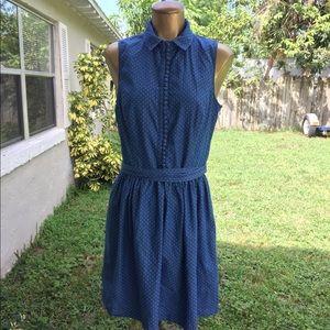 Kensie Chambray Polka Dot Denim Dress Size Lg